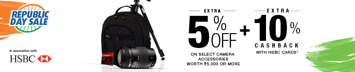 Buy Camera Accessories worth Rs 5000 or more and Get Extra 5% Off
