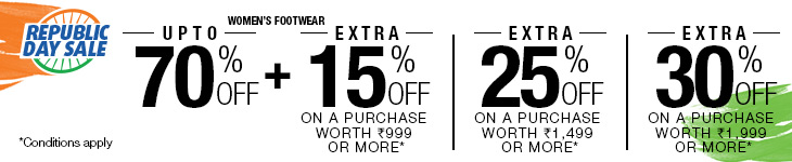 Upto 70% Off on Women's Footwear + Extra 15% Off on a purchase worth Rs 999 or more