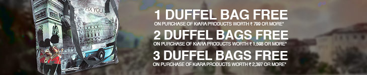 [flipkart]1 Duffel Bag free on purchase of kiara products worth Rs.799 or more