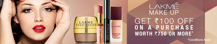 100 Rs. off on Lakme product , deal details with Apnacoupon. com