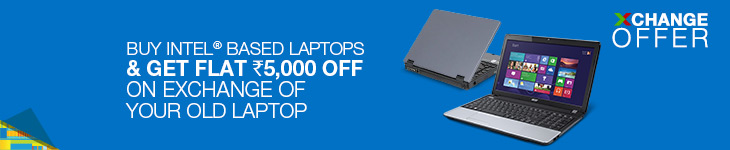 Flipkart Laptop Exchange Offer - Get Rs 5000 Off on All intel Laptops