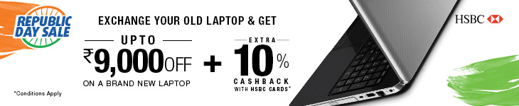 Exchange Offer of upto Rs 9,000 on select Laptops