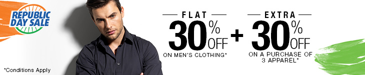 Flat 30% Off on Men's Clothing + Extra 30% Off on buying 3 or more Clothing products