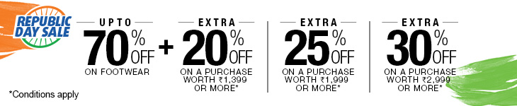 Upto 70% Off on Men's Footwear + Extra 20% Off on a purchase worth Rs 1399 or more
