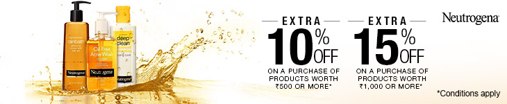 Extra 15% discount on Neutrogena Beauty and Personal Care products
