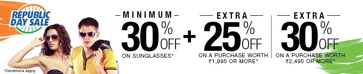 Minimum 30% Off on Sunglasses + Extra 25% Off on a purchase above Rs 1995
