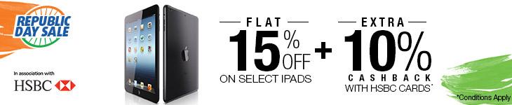 Flat 15% Off on select Apple iPads