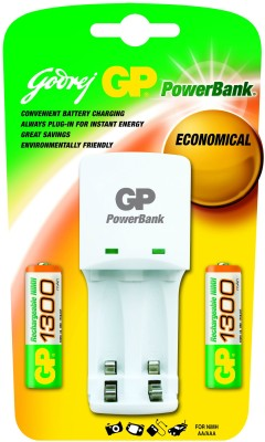 Buy Godrej GP Powerbank KB 02 (with 2 Pcs GP 1300 mAh AA Batteries) Battery Charger: Camera Battery Charger