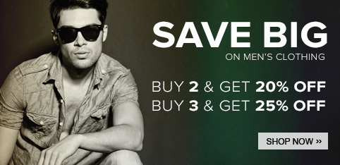 Extra 25% off on buying 3 men's clothing products