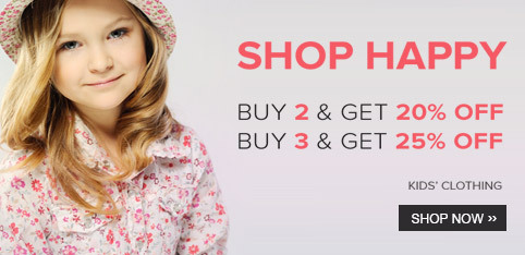 Extra 25% off on buying 3 kid's clothing products