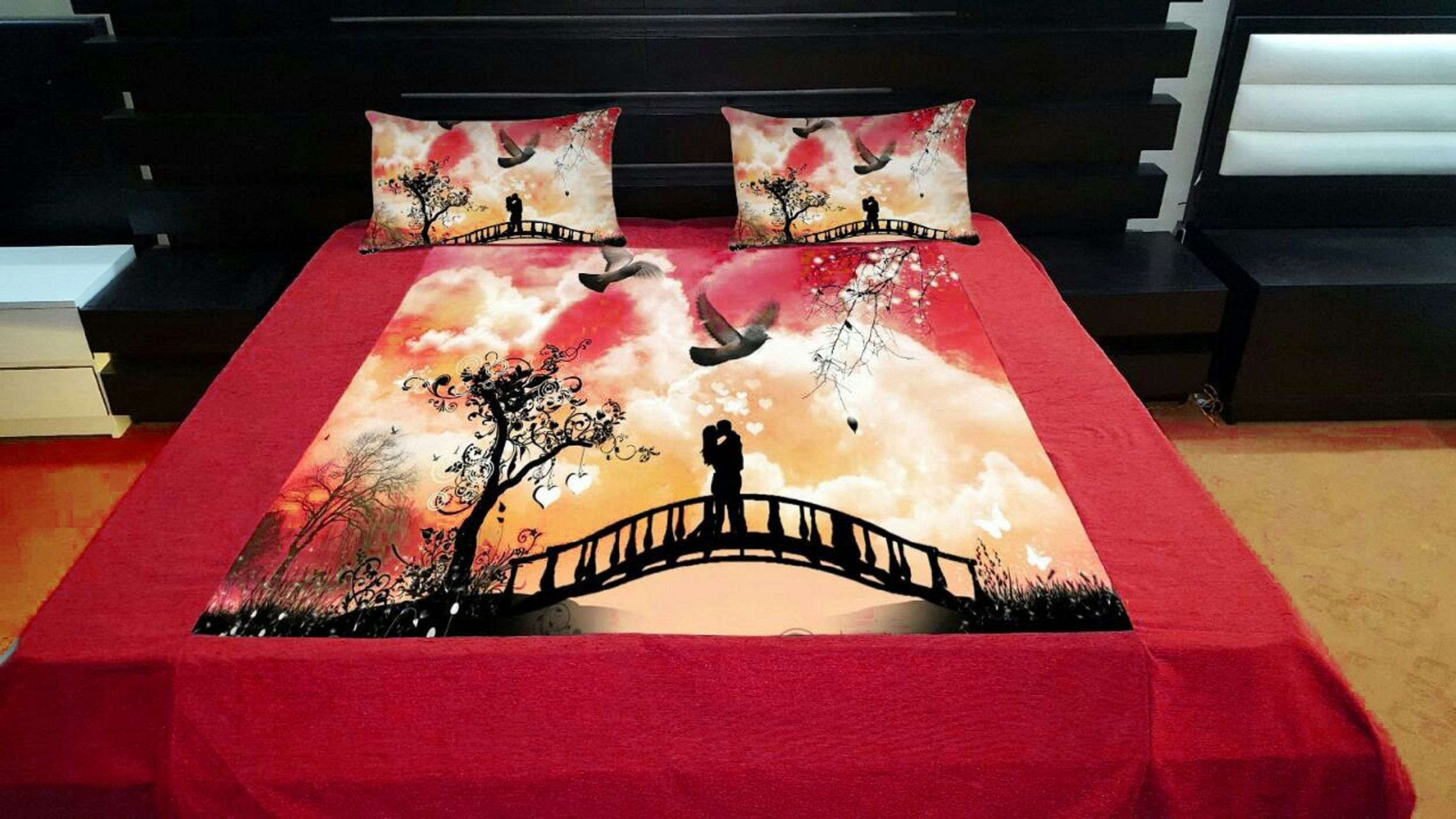 AKR CREATION Silk Bedsheet king size 100 Inch X 100 Inch  (1 Double Bedsheet, 2 Pillow Covers)