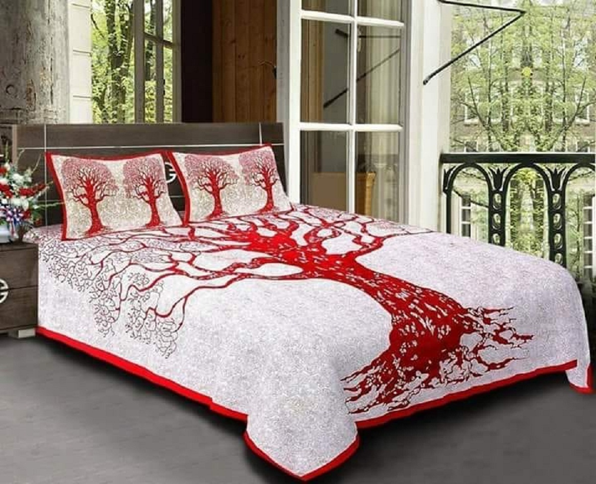 AKR CREATION COTTON KING DOUBLE Bedsheet king size 90 Inch X 108 Inch  (1 Double Bedsheet, 2 Pillow Covers)