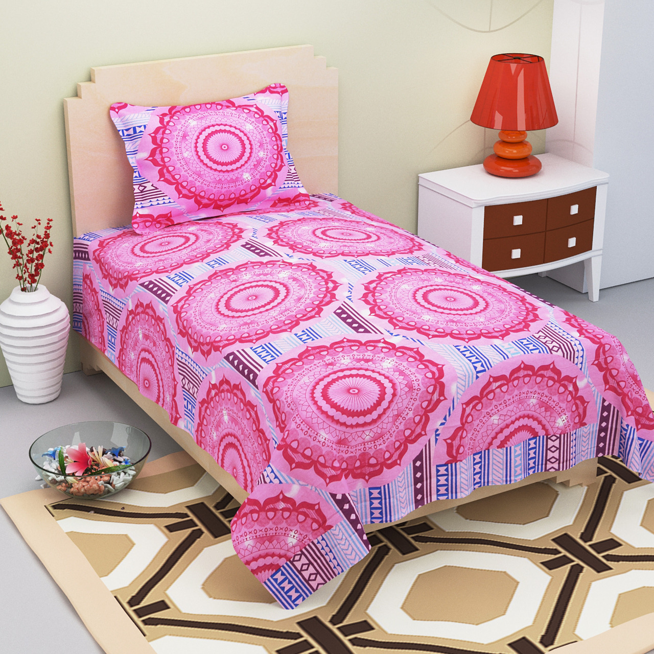 AKR CREATION COTTON SINGLE Bedsheet king size 90 Inch X 60 Inch  (1 SINGLE Bedsheet, 1 Pillow Cover)