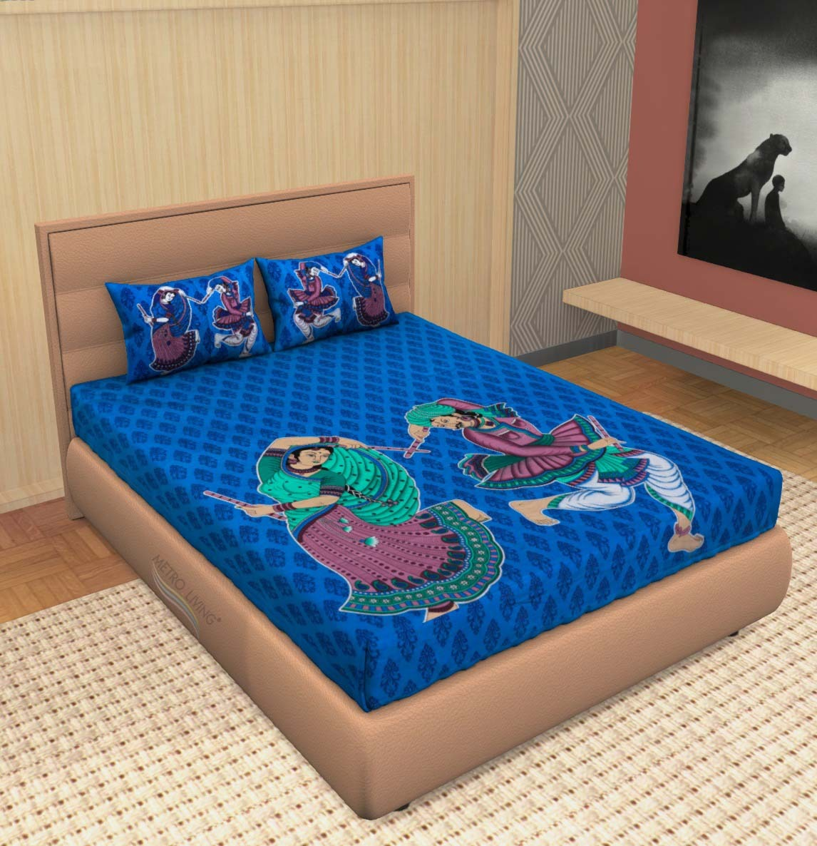 AKR CREATION COTTON DOUBLE Bedsheet king size 90 Inch X 100 Inch  (1 Double Bedsheet, 2 Pillow Covers)