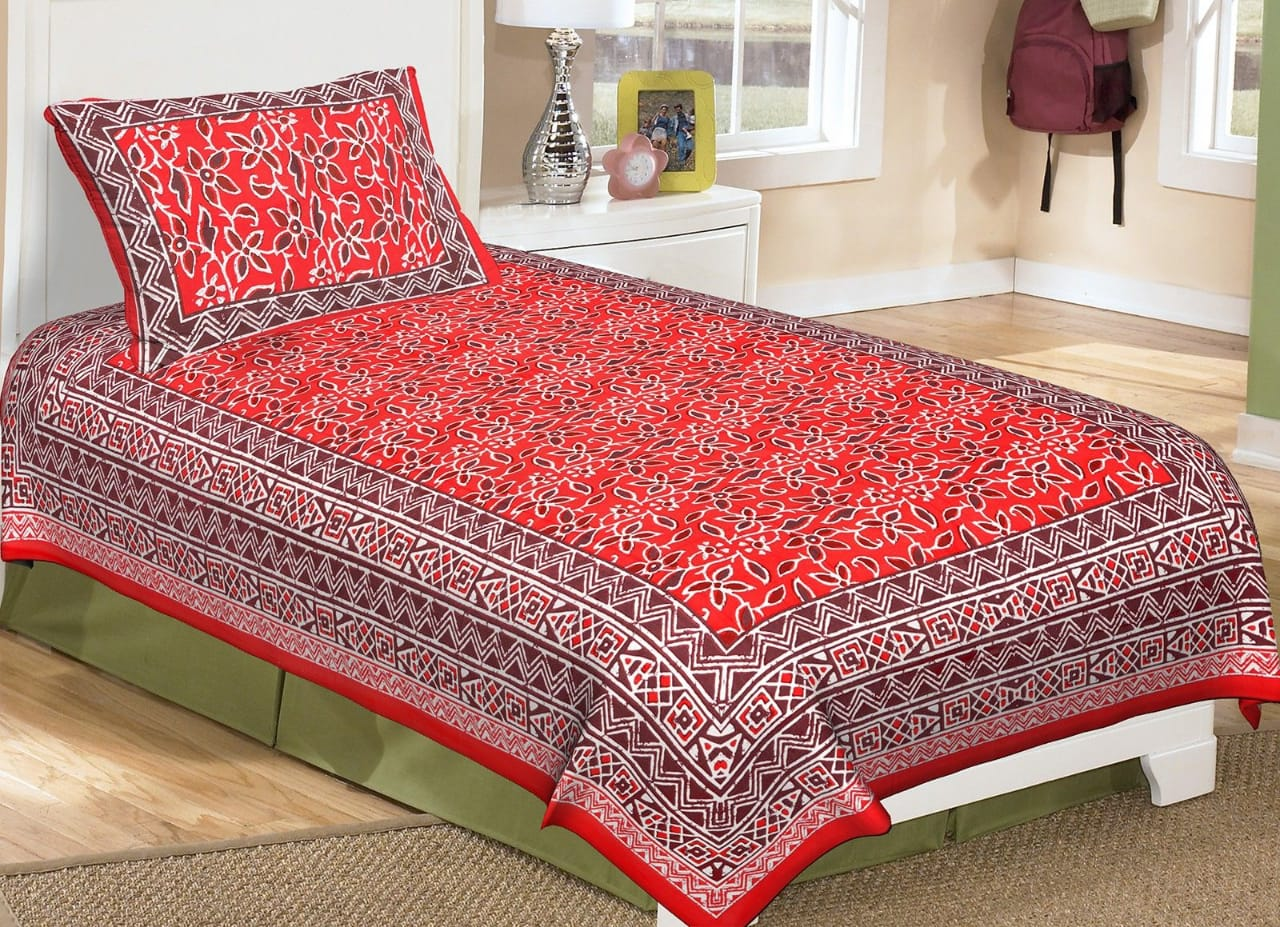 AKR CREATION COTTON SINGLE Bedsheet size 90 Inch X 63 Inch  (1 SINGLE Bedsheet, 1 Pillow Cover)