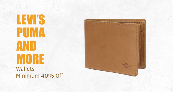 Levi's Puma and more wallets at Min.40% Off