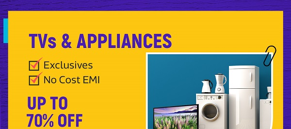 Up to 70% off on TVs and Appliances