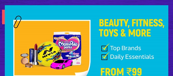 Beauty, fitness and toys from Rs.99