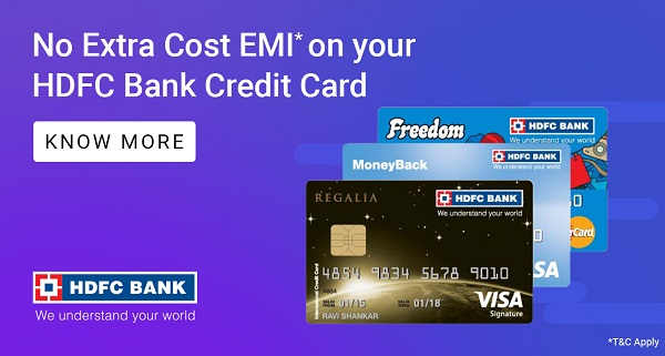 No Extra Cost EMI on HDFC Bank