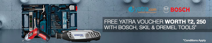 Free Yatra. com Flights Voucher worth Rs 2,250 with Bosch, Skil and Dremel Tools